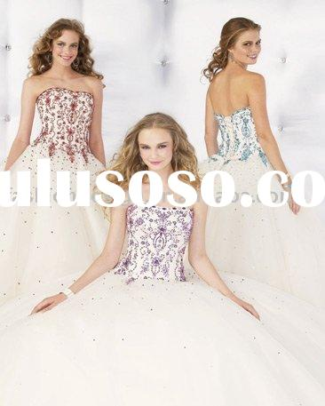 RQ021 Stylish tulle embroidery with rhinestones prom gown Quinceanera Dresses