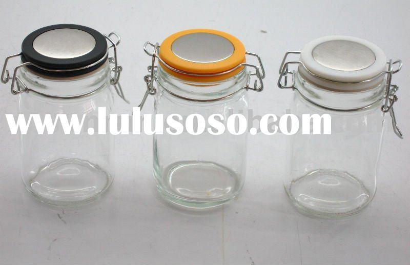 Round glass jar with clip top lid