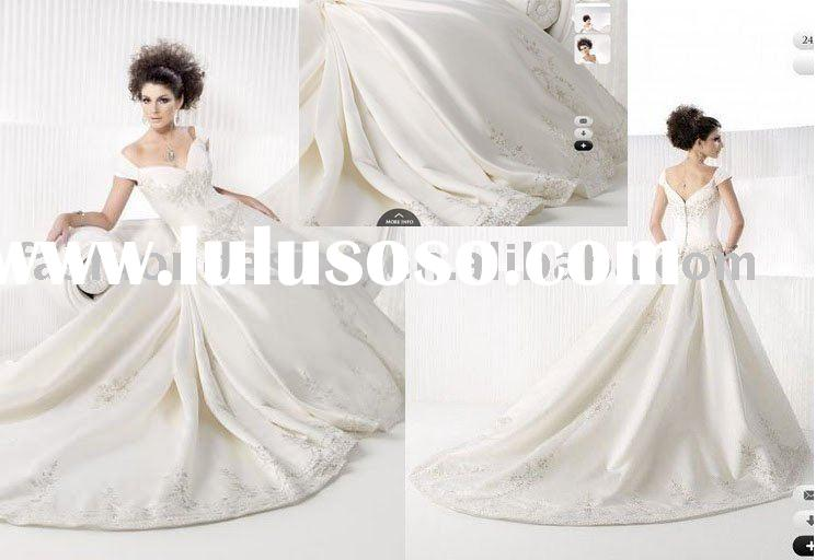 SWD704 Gorgeous cap sleeve embroidered and beaded long trailing wedding dresses