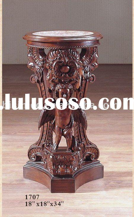 Solid wood hand carving antique end table with marble top,coffee table set,American furniture