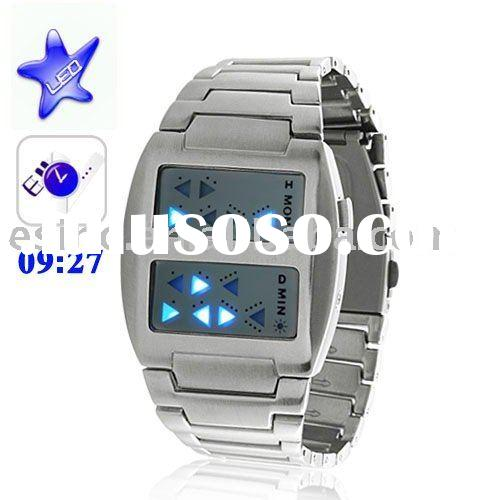 Special Japanese Inspired Blue LED Digital Watch with Stainless Steel/wholesale