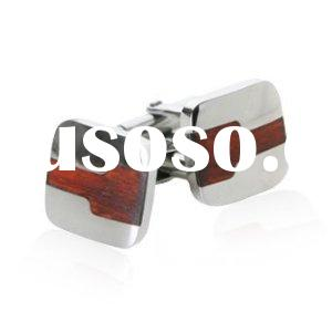 Stainless Steel Cufflinks with Cherry Wood Design cufflinks