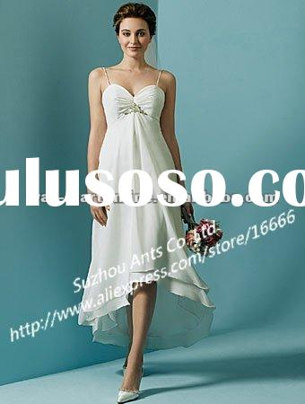 Straight Spaghetti Strap Beading Empire Waistline Chiffon Front Short Long Back Beach Wedding Dresse