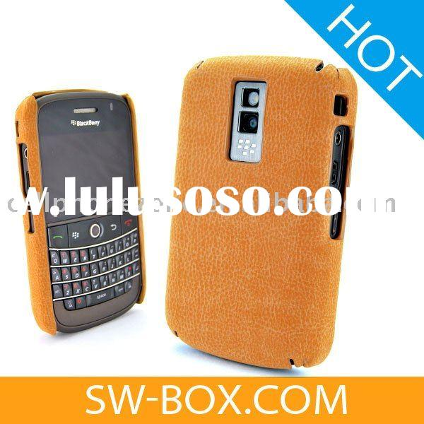 Suede Soft Leather Hard Plastic Case Cover For BlackBerry Bold 9000 - Orange /blackberry case