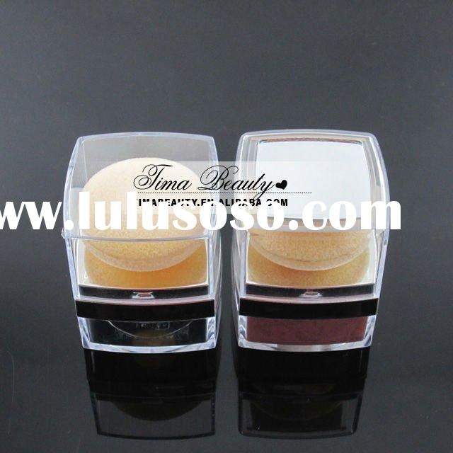 TM-P1019,Cosmetic mineral powder container with soft powder puff and mirror