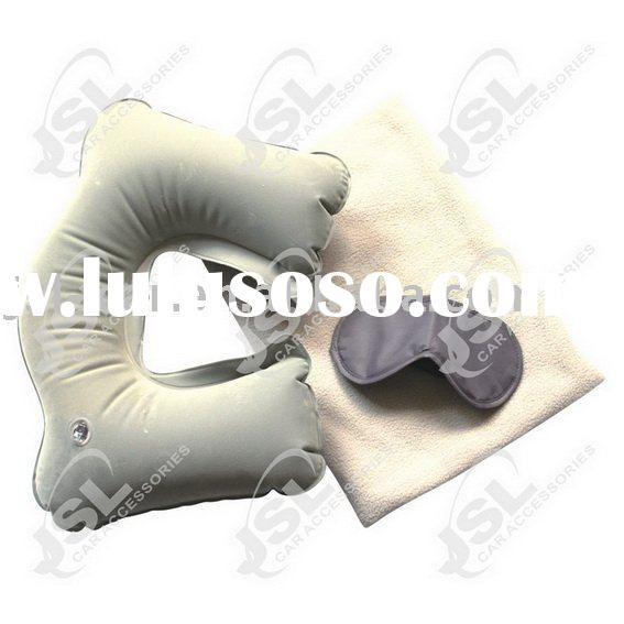 Travel set: Inflatable neck pillow, fleece blanket, eye mask