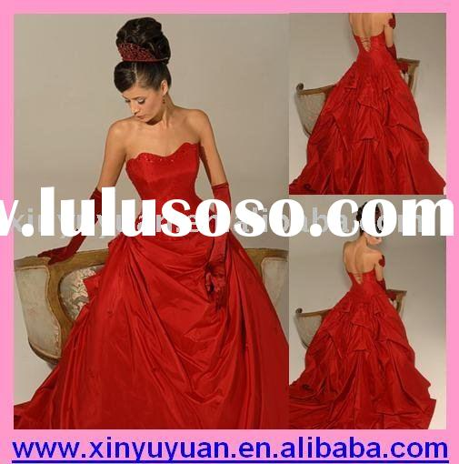 Unique Hollywood Red Sleeveless &Sweetheart Neck Ball Gown Wedding Dress &Bridses Dress &amp