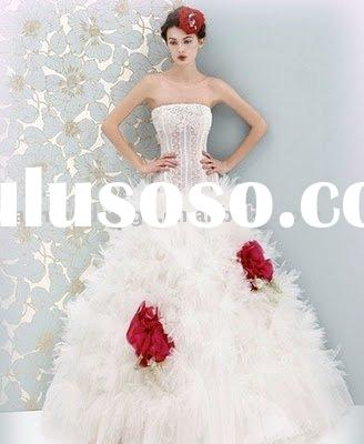VH039 2010 hot sale strapless beaded feathered wedding dress