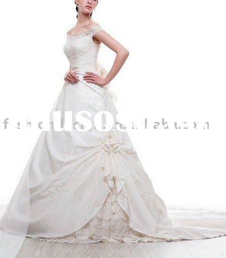 VH184 beauty bride off-shoulder lace embroidery cover flower wedding dresses