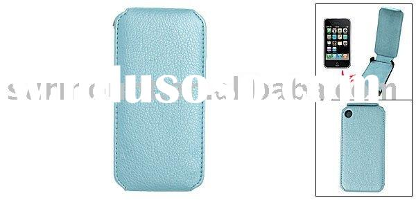 Vertical Flap Hard Blue Leather Case Pouch for Apple iPhone 3G