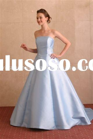 Western style exquisite taffeta baby-blue wedding gown