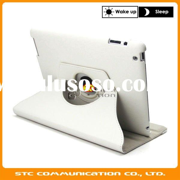 White 360 degree rotated leather case with smart cover for Apple iPad 2