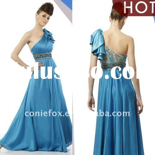 Wholesale CONIEFOX one shoulder long bridesmaid dress 80013