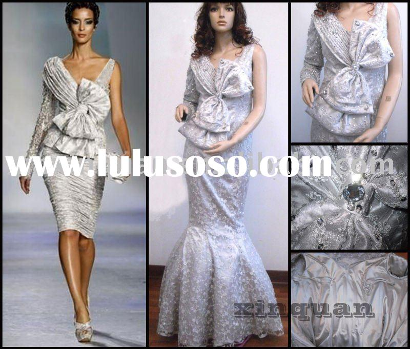 XQ024 Real photos long sleeve embroidered beaded mermaid style silver evening dress