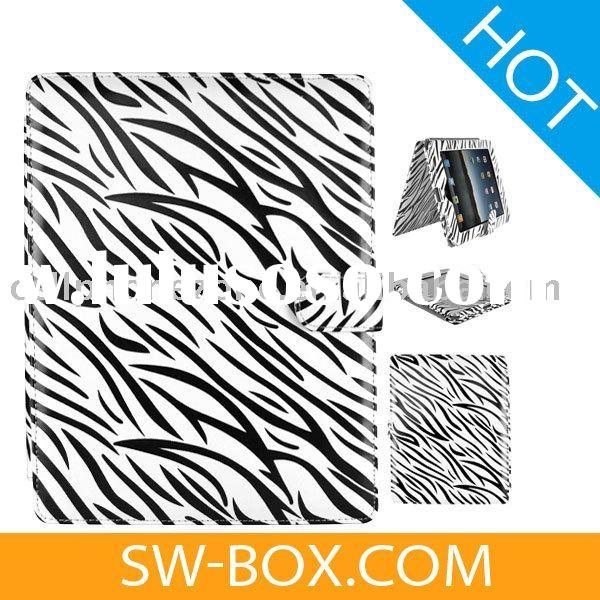 Zebra Magnetic Flip Leather Case Cover Pouch For iPad - White /For iPad case