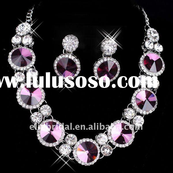 big purple rhinestone crystal wedding bridal necklace and earrings accessories sets