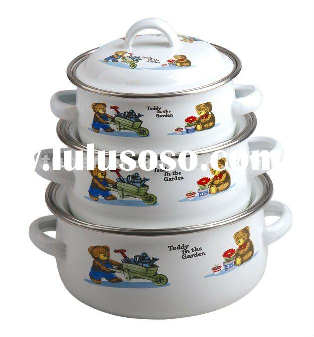 enamel silver coated/coating cast iron cookware/dinnerware