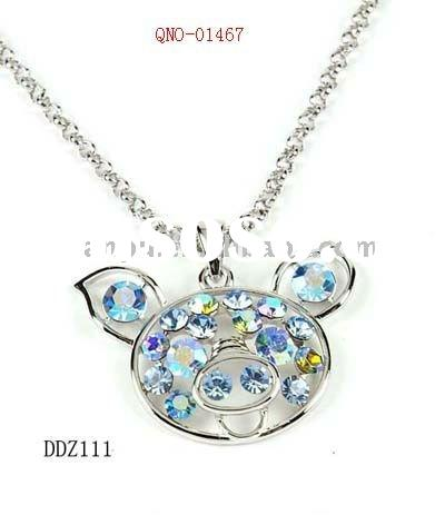 fashion funky costume handmade alloy pig studded crystal diamond pendant necklace jewelry accessory