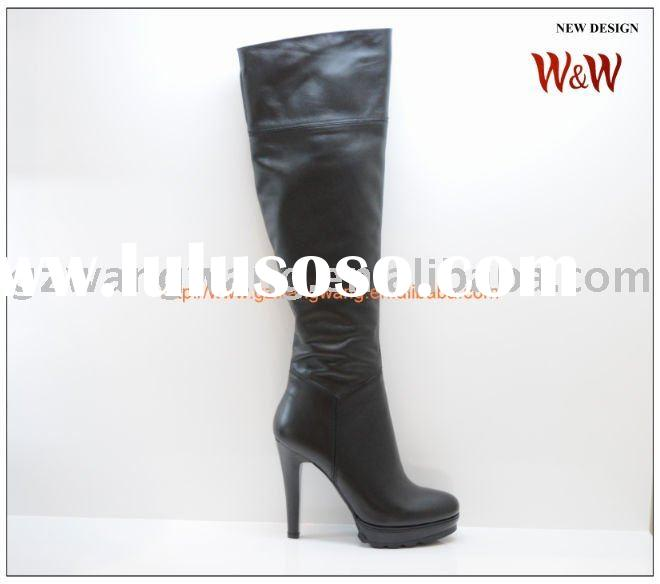 fashion ladies black leather high heel boots hot sale
