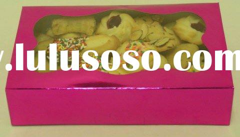 folding art paper cookie packaging with window