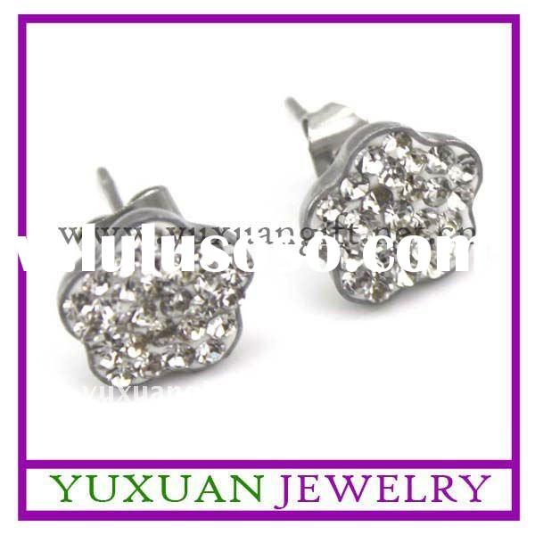 hot sell girls stainless steel flower shape diamond earrings