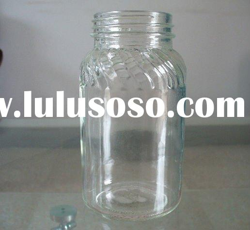 large clear glass canning food jar