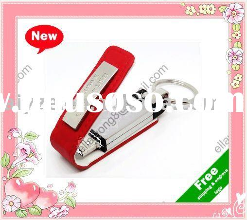 latest design leather usb stick with free keyring accept paypal