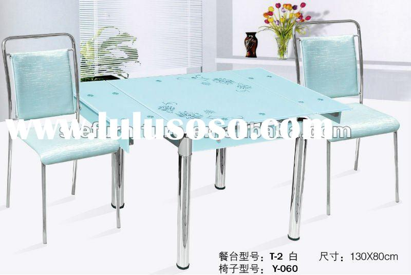 modern luxuriant expandable tempered glass dining table