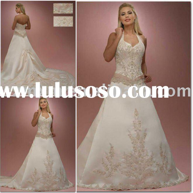 new YY-255 fashion halter A-line embroidered beading satin chapel train bridal wedding dress