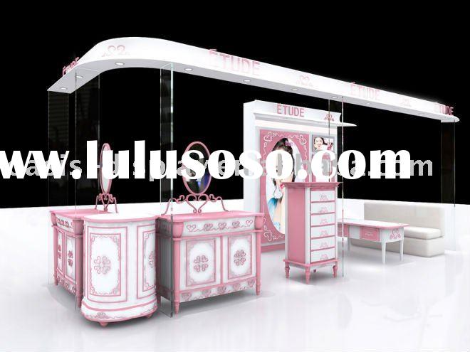 pink popular cosmetic display rack cabinet,cosmetic showcase,display stand