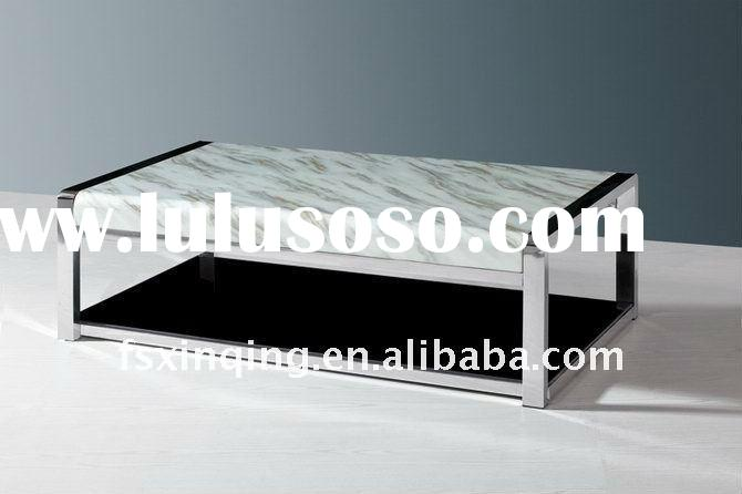 simple home furniture marble top tempered glass bottom coffee table C106