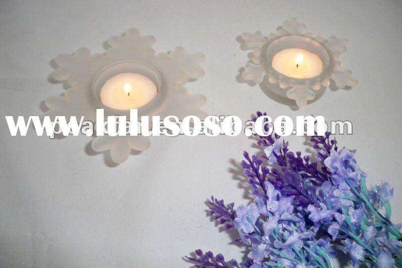 unique hot snowflake frosted glass candle holder