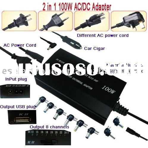 universal laptop adapter/laptop charger/notebook power supply 100W AC And DC 2in1 Universal Laptop A