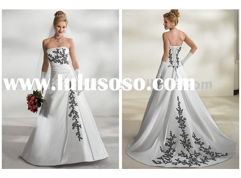 white and black embroidery wedding dress SJ0242