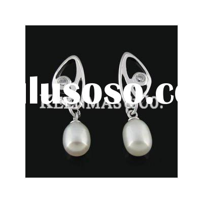 wholesale handmade pearl products- silver earrings, fashion jewelry