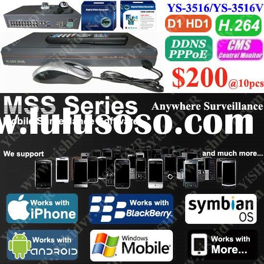 16CH H.264 D1 3G Network DVR, Multiplex and Multilingual, support iPhone, BlackBerry, Andriod, Symbi
