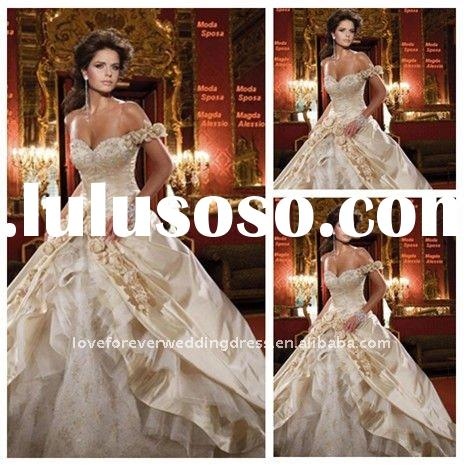 2011 Embroideried Off Shoulder Bridal Wedding Dress Ball Gown