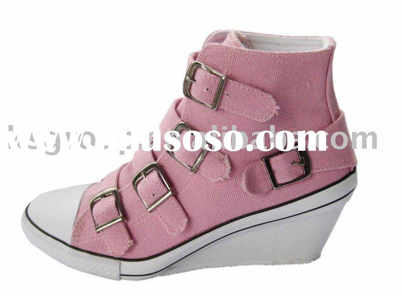 2011 Latest high heel lady's Vulcanized canvas Shoes