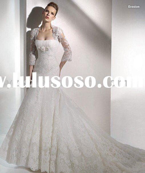 2011 NEW STYLE HY22135 attractive applique long sleeves wedding dress