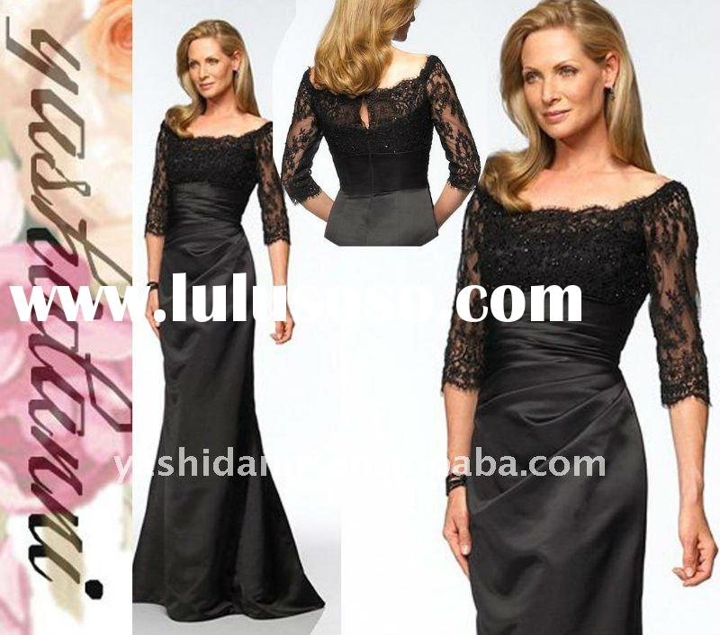 2011 New black elegant lace shoulder Long Sleeve ladies' Evening Gown mother of the bride dr