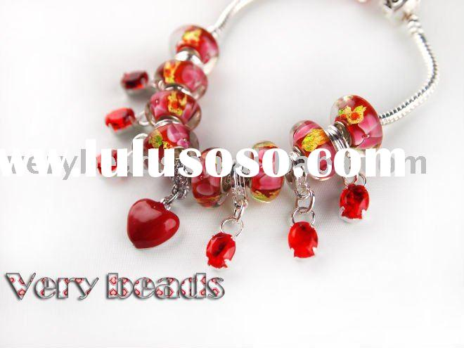 2011 Newest DIY silver Charms Glass beads bracelet cp010