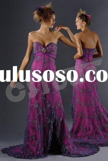 2011 Purple Net Strapless Floor Length Evening Dress with Lace