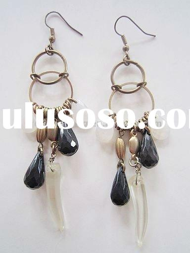 2011 fashion black and white acrylic beads dangle earring