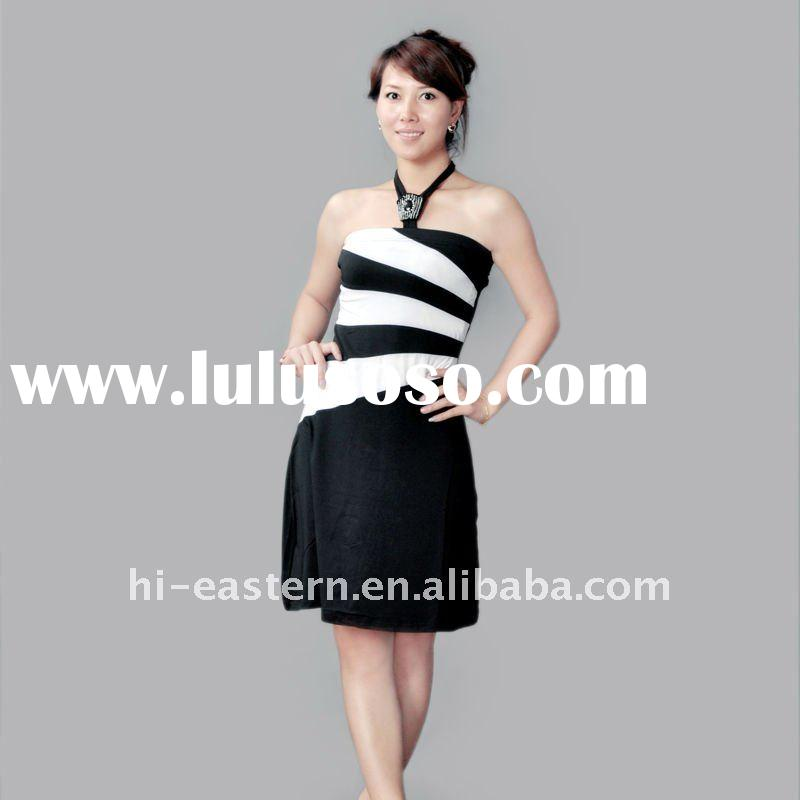 2011 fashion ladies knitted dress with stone decoration/ new Ladies yarn dyed stripe halter style ca
