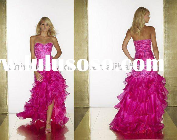 2011 sparkle backless tiered skirt side slit wholesale fuchsia tulle prom gowns