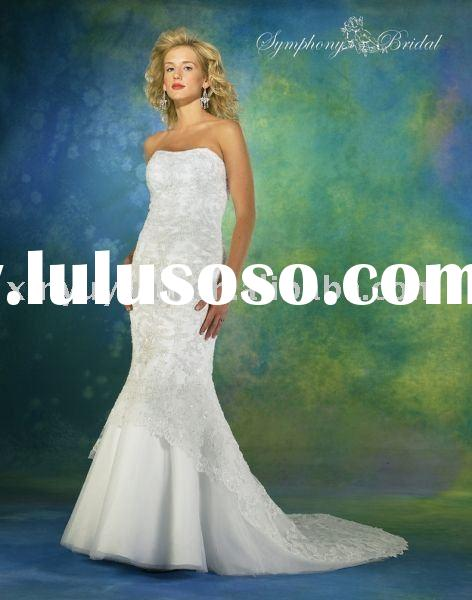 2011 top sell Wholesale popular cheap morden beauty strapless mermaid wedding dress/bridal gown SYW-
