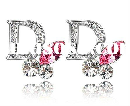 2011 wholesale NO MOQ Big D style crystal fashion earrings