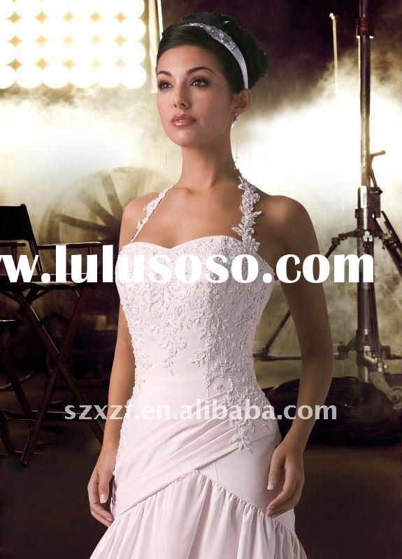 2011hot sell halter taffeta lace strap embroidery floor-length bridal gowns wedding dress