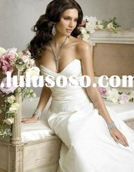 2011hotsell off-shoulder satin lace low cut backless floor-length bridal gown wedding dress