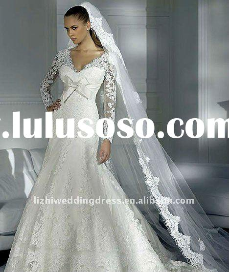 2012 Customized-Size Gorgeous Embroidery Foor Length Long sleeve Christmas Lace Winter Wedding Dress